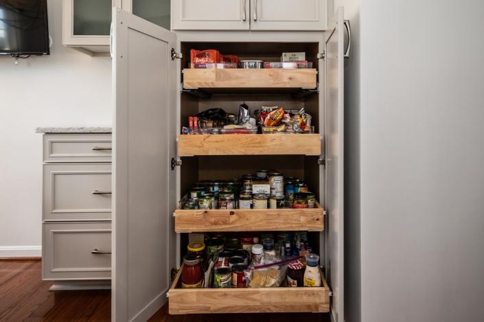 Pantry storage cabinet from Waypoint kitchen remodeling Alexandria, VA extra storage