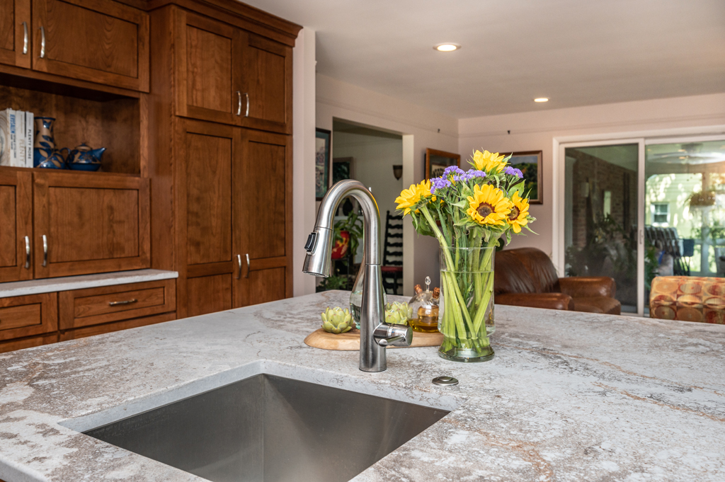 Custom kitchen remodeling Falls Church with peninsula and small rectangular prep sink