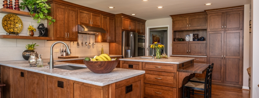Kitchen Remodeling, custom Koch cherry cabinets in Briarwood stain with peninsula and prep sink custom island with additional seating