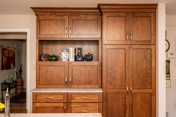 Kitchen remodel, Pantry storage with custom cherry cabinets from Koch stained with Briarwood and a Ceaserstone workspace