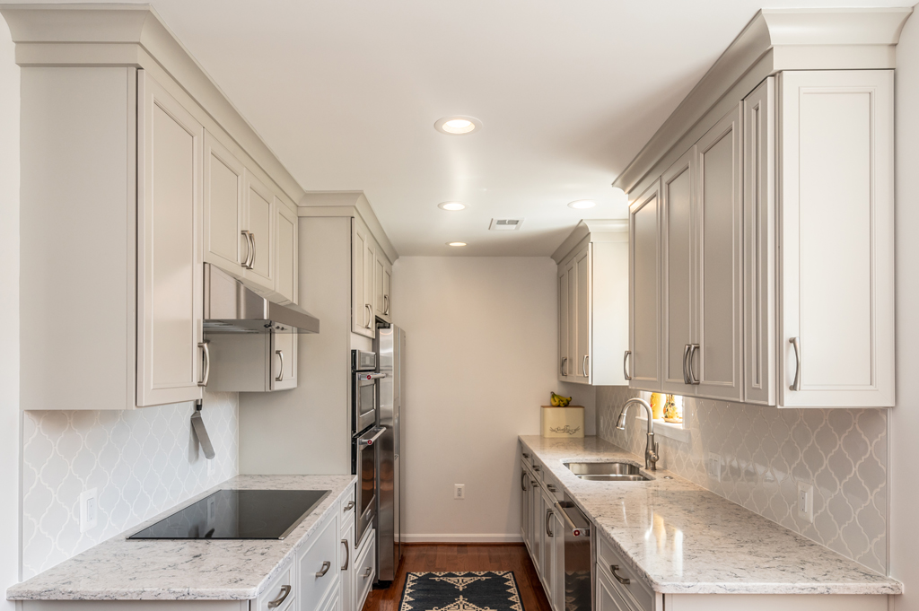 Kitchen Remodel galley style, Alexandria, VA with brushed satin nickel hardware from Top Knobs