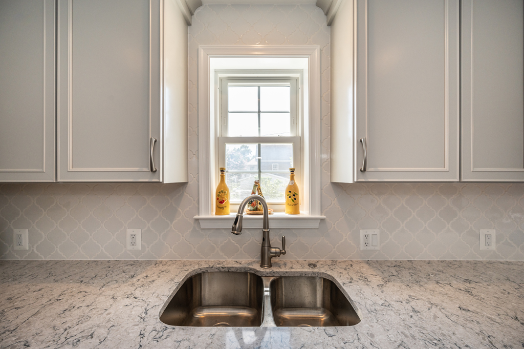 kitchen remodel, Alexandria, VA with Arabesque Whisper White tile backsplash and Moen Branford style faucet