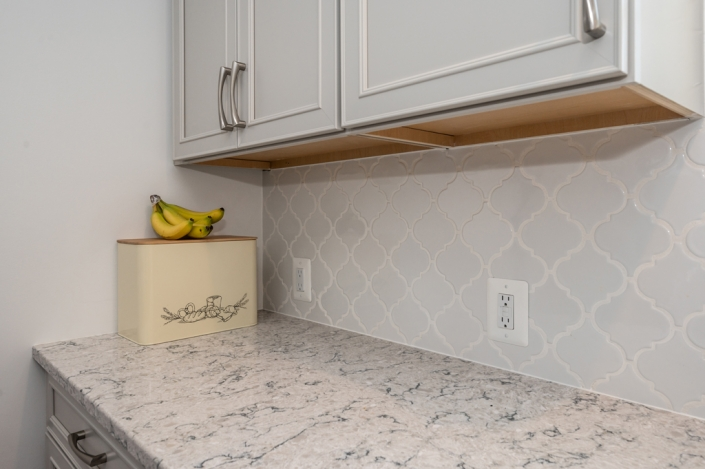 Arabesque Whisper white tile backsplash kitchen remodel, Alexandria VA with Pietra Silestone countertops