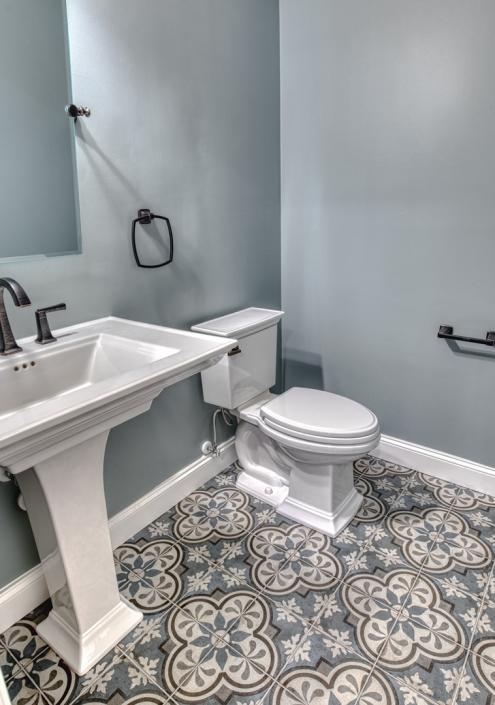 Powder room remodel Vienna, VA with custom tile flooring