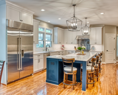 Custom kitchen remodel in Vienna VA with Crystal cabinetry and custom blue island
