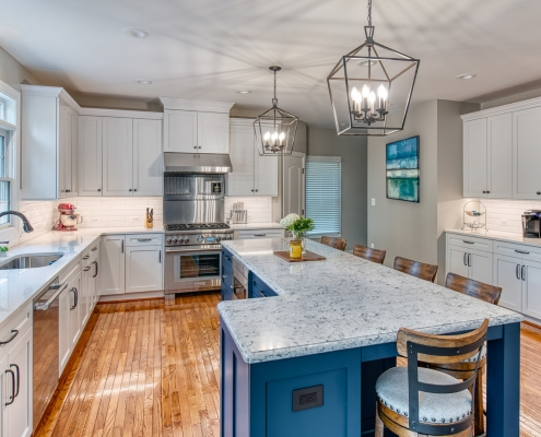 Custom kitchen remodeling by Foster Remodeling, Vienna, VA, large kitchen with custom island and light fixtures