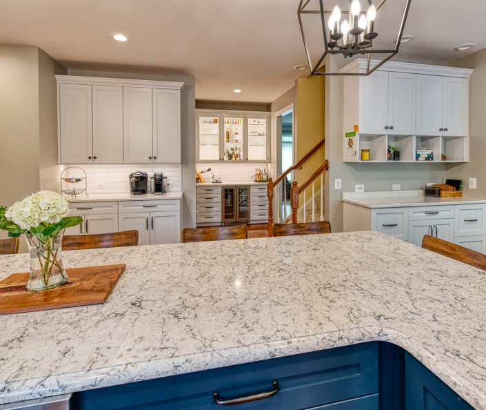 Transitional Vienna kitchen remodel featuring Cambria countertops in a marbled look