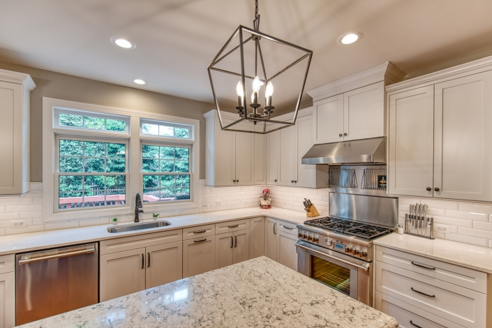 Vienna transitional kitchen remodel with custom island and Crystal cabinetry