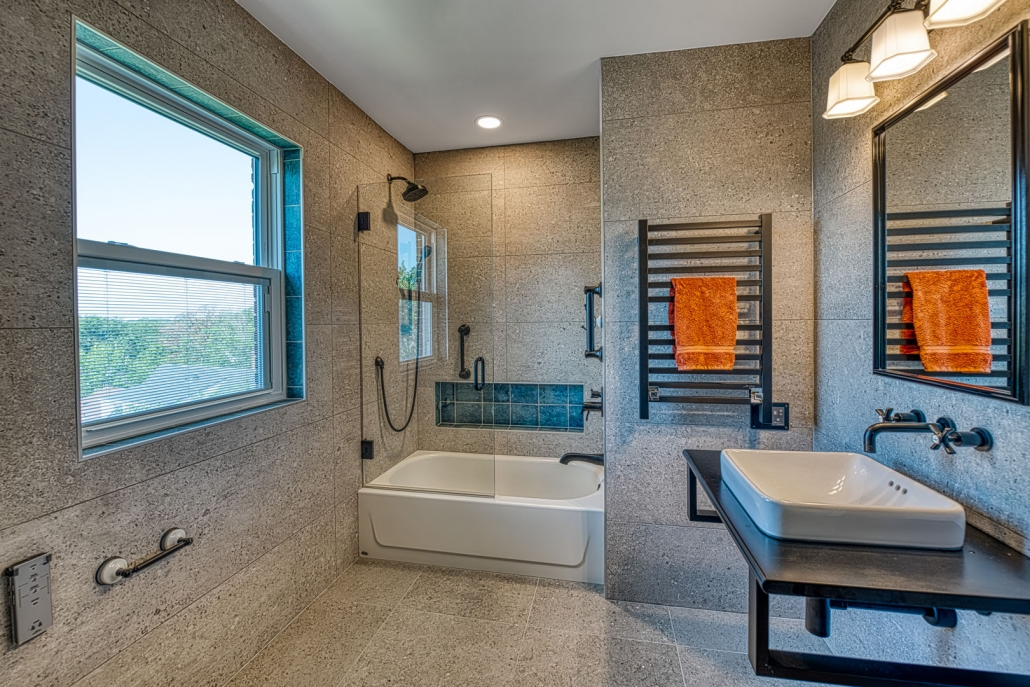 Arlington Bathroom remodel with custom niche in tub/shower combo with industrial feel