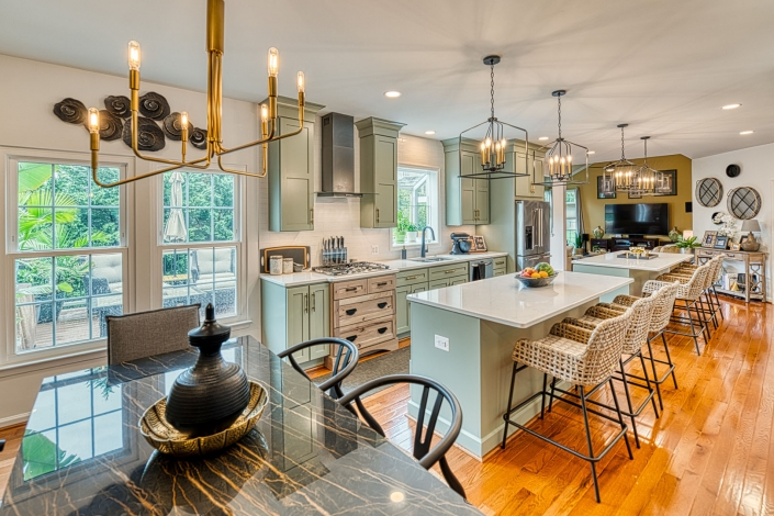 Kitchen remodel Gainesville, VA rustic modern sage green cabinets