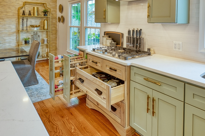 Kitchen remodel, Gainesville VA with custom Crystal cabinetry with pullout drawer for pots and pans, utensils and spices
