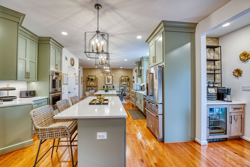 Gainesville VA custom kitchen remodel with double island and coffee and wine bar