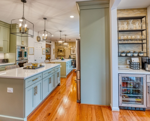 Gainesville kitchen remodel featuring beverage bar and double islands