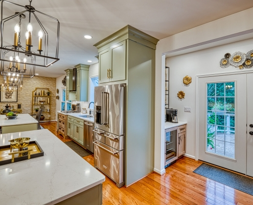 Gainesville VA custom kitchen remodel with bump out for added space and french doors to patio