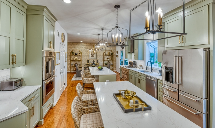 Gainesville kitchen remodeling with sage green custom cabinets and gold hardware