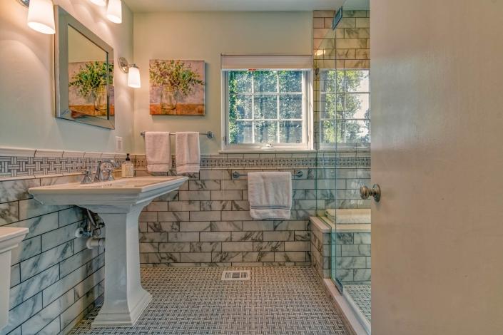Classic Falls Church Bathroom remodel with Marble walls
