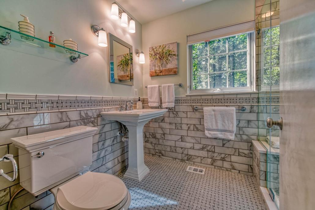 Marble Subway Tile half wall classic Falls church bath remodel