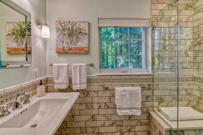 Falls Church Bathroom Remodel with Carrara Marble in Enchant style with basketweave feature