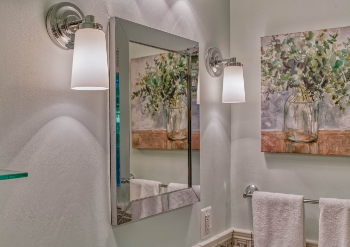 Bathroom remodel in Falls Church displaying a recessed medicine cabinet